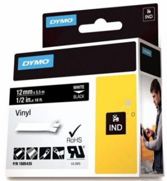 DYMO Rhino Professional, noticeable permanent vinyl tape, 12mm, white text on black tape, 5.5m 1805435